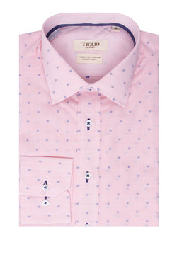 Light Pink with Blue design Modern Fit Sport Shirt by Tiglio Sport SP8129/2  Tiglio - Italian Suit Outlet