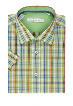 Green with Orange, Blue and White Check Modern Fit Sport Shirt by Tiglio Sport SP8136/5  Tiglio - Italian Suit Outlet