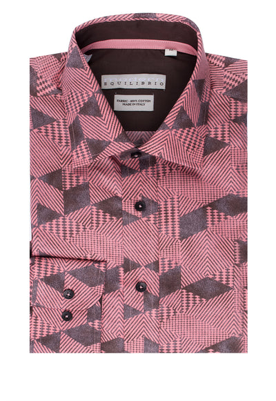 Salmon with Brown Geometric Pattern Modern Fit Sport Shirt by Tiglio Sport SP8153/2  Tiglio - Italian Suit Outlet