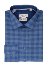 Gray and Blue Checkered Pattern Modern Fit Sport Shirt by Tiglio Sport SP9001  Tiglio - Italian Suit Outlet