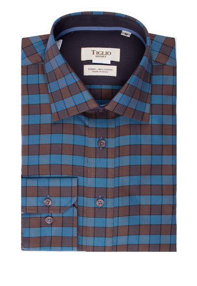 Brown and Light Blue Check Pattern Modern Fit Sport Shirt By Tiglio Sport SP9008  Tiglio - Italian Suit Outlet