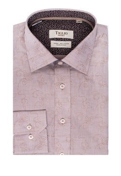 Beige with White Floral design Modern Fit Sport Shirt by Tiglio Sport SP9030  Tiglio - Italian Suit Outlet