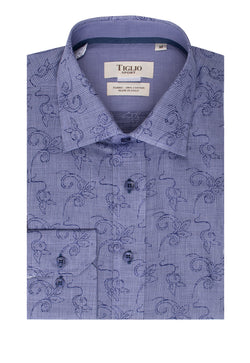 Blue with Navy Floral design Modern Fit Sport Shirt by Tiglio Sport SP9031  Tiglio - Italian Suit Outlet
