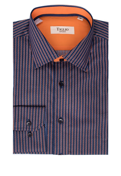 Navy with Rust Stripe Pattern Modern Fit Sport Shirt By Tiglio Sport V12181  Tiglio - Italian Suit Outlet