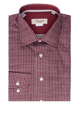 Burgundy with White Polka-Dot Pattern Modern Fit Sport Shirt by Tiglio Sport V12197  Tiglio - Italian Suit Outlet