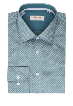 Blue gray with geometric design, Modern Fit Sport Shirt by Tiglio Sport V-12235  Tiglio - Italian Suit Outlet