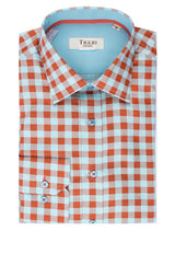 Mint and Rust Check Pattern Modern Fit Sport Shirt by Tiglio Sport  Tiglio - Italian Suit Outlet