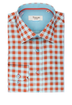 Mint Green and Orange Check Modern Fit Sport Shirt by Tiglio Sport V12242  Tiglio - Italian Suit Outlet
