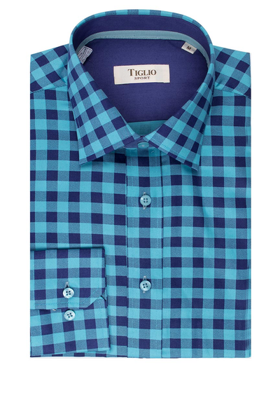 Blue and Navy Check Modern Fit Sport Shirt by Tiglio Sport - V12244  Italian Suit Outlet - Italian Suit Outlet