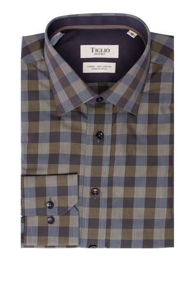 Military green with black and beige checkered Modern Fit Sport Shirt by Tiglio Sport V-43162  Tiglio - Italian Suit Outlet