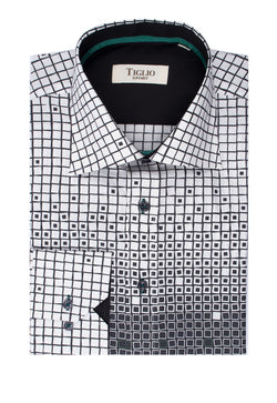White with Black Geometric Pattern with Blue Accents Modern Fit Sport Shirt by Tiglio Sport Y6990/1