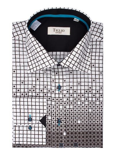 White with Brown Geometric Pattern and Green Accents Modern Fit Sport Shirt by Tiglio Sport Y6990/2  Tiglio - Italian Suit Outlet