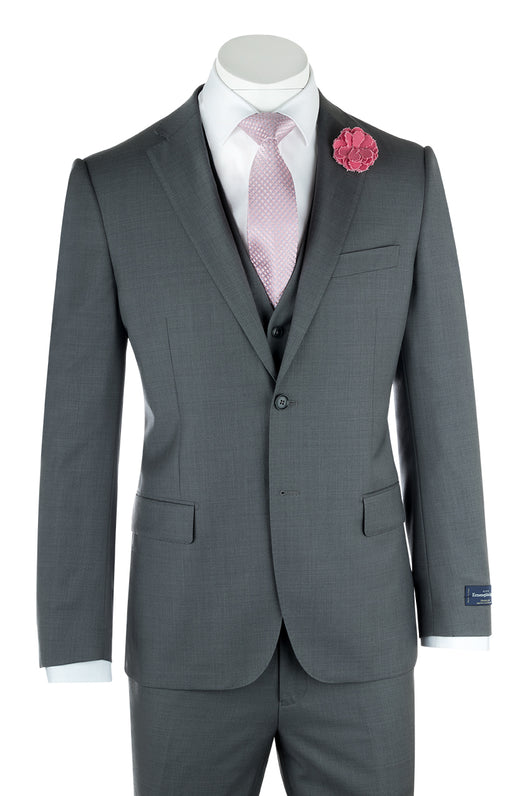 Zegna Ermenegildo Cloth Superfine Wool Ash Gray Sangria Suit & Vest By Canaletto Menswear 1880U/0002  Canaletto - Italian Suit Outlet