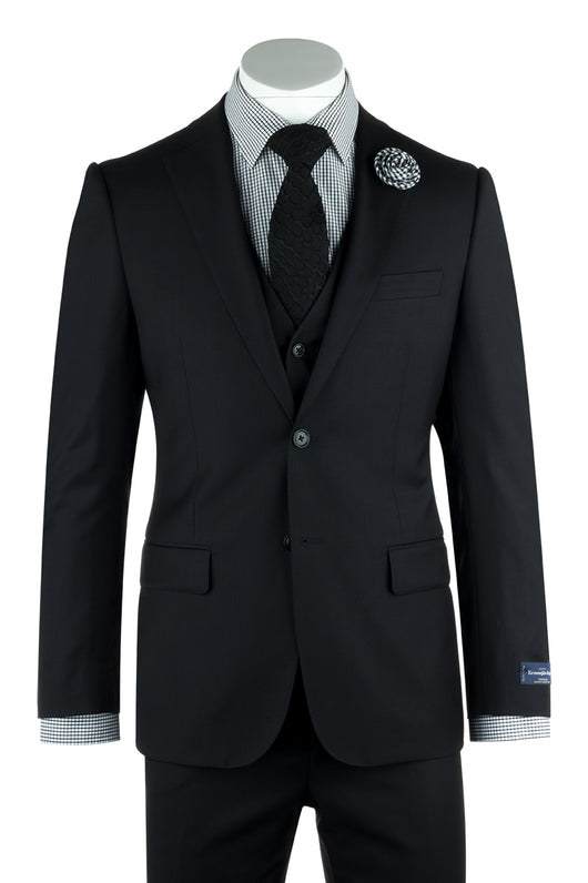 Zegna Ermenegildo Cloth Superfine Wool Black Suit & Vest By Canaletto Menswear 1880U/0006  Canaletto - Italian Suit Outlet
