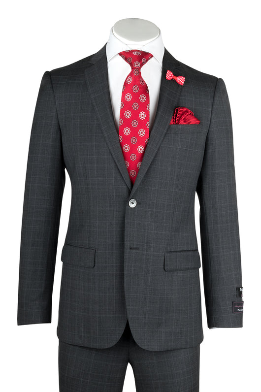 Sienna Gray with White Windowpane , Slim Fit, Pure Wool Suit by Tiglio Luxe T1862051
