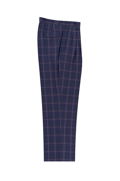Jean Blue with Rose and blue Windowpane Wide Leg, Pure Wool Dress Pants by Tiglio Luxe T7033/2  Tiglio - Italian Suit Outlet
