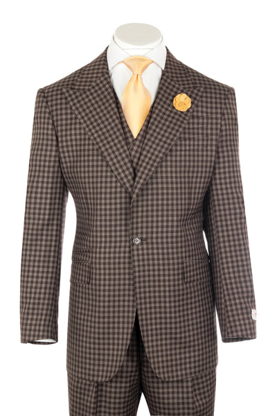 NEW ROSSO Brown and Oatmeal check Wide Leg Pure Wool Suit & Vest by Tiglio Rosso T7143/1  Tiglio - Italian Suit Outlet