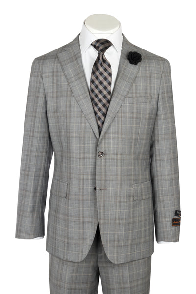 DOLCETTO Gray glen check windowpane, Modern Fit, Pure Wool Suit by TIGLIO LUXE Menswear T96.338/1  Tiglio Luxe - Italian Suit Outlet