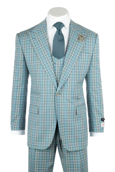 Luca Sage Green with Blue and White Plaid Wide Leg, Pure Wool Suit & Vest by Tiglio Rosso T96307/087/2  Tiglio - Italian Suit Outlet