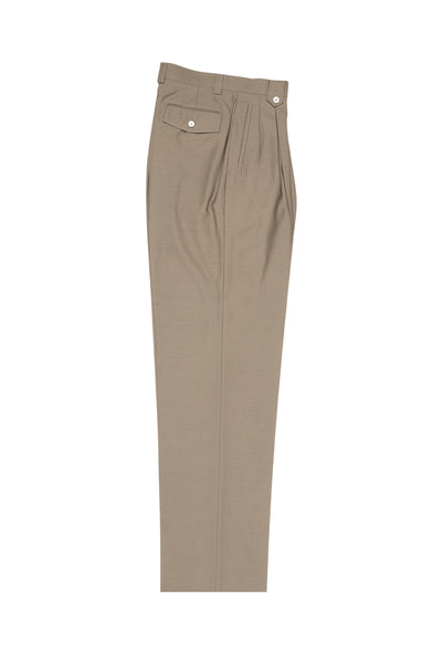Taupe Wide Leg, Pure Wool Dress Pants by Tiglio Luxe  Tiglio - Italian Suit Outlet