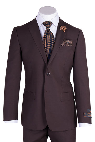 Novello Brown Pure Wool Men's Suit by Tiglio Luxe TIG1003  Tiglio - Italian Suit Outlet