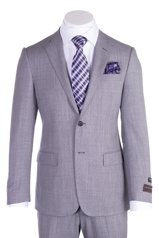 Novello Light Gray Birdseye Pure Wool Men's Suit by Tiglio Luxe TIG1018  Tiglio - Italian Suit Outlet