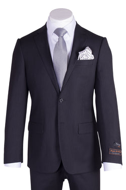Novello Black Tone on Tone Pure Wool Men's Suit by Tiglio Luxe TIG1026  Tiglio - Italian Suit Outlet