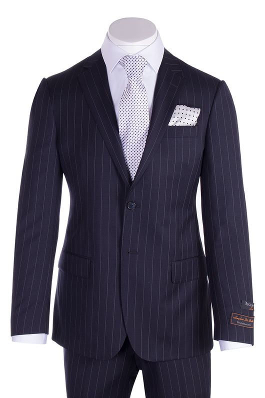 Novello Navy Pinstripe Pure Wool Men's  Suit By Tiglio Luxe TIG1030  Tiglio - Italian Suit Outlet