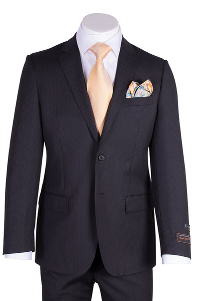 Novello Black Mini-Stripe Pure Wool Men's Suit By Tiglio Luxe TIG1046  Tiglio - Italian Suit Outlet