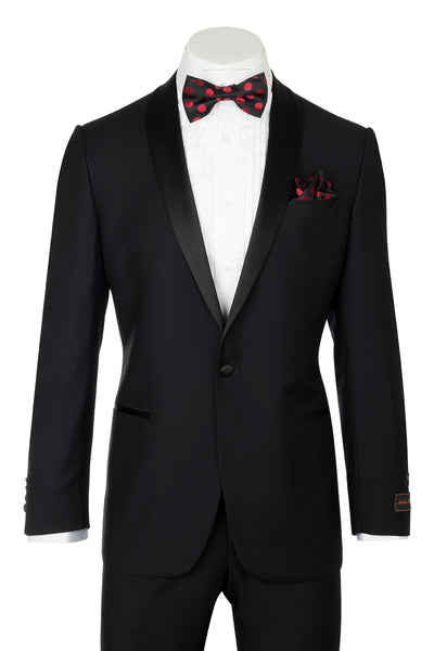 Tiglio Luxe Beckham, Modern Fit, Black, Pure Wool Tuxedo TIG1001  Tiglio Luxe - Italian Suit Outlet