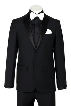 Tiglio Luxe Dandy, Slim Fit, Black, Pure Wool Tuxedo TIG1001  Tiglio Luxe - Italian Suit Outlet