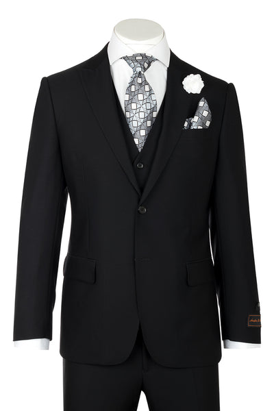 Tiglio Luxe Tufo, Modern Fit, Black, Pure Wool Suit & Vest TIG1001  Tiglio - Italian Suit Outlet