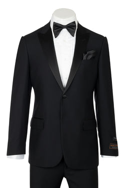 Tiglio Luxe Tufo, Modern Fit, Black, Pure Wool Tuxedo TIG1001  Tiglio Luxe - Italian Suit Outlet