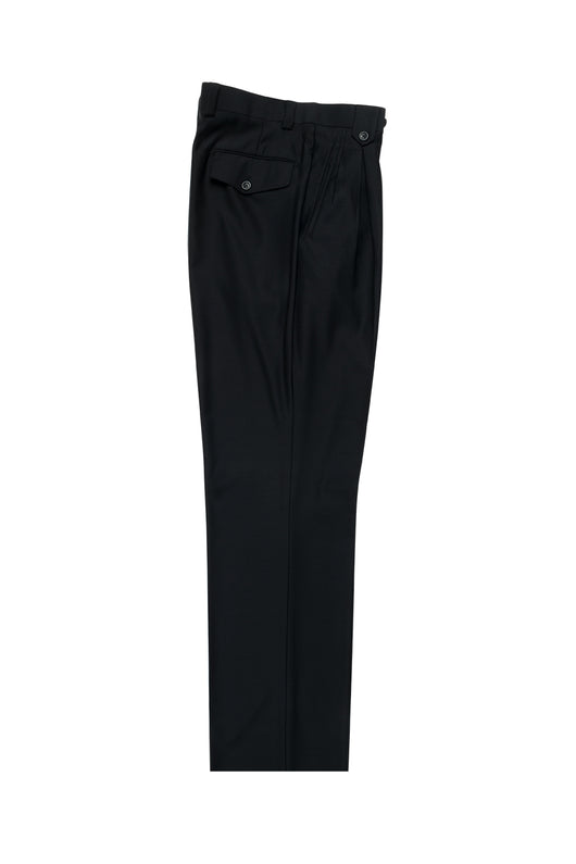 Black Wide Leg, Pure Wool Dress Pants by Tiglio Luxe TIG1001  Tiglio - Italian Suit Outlet