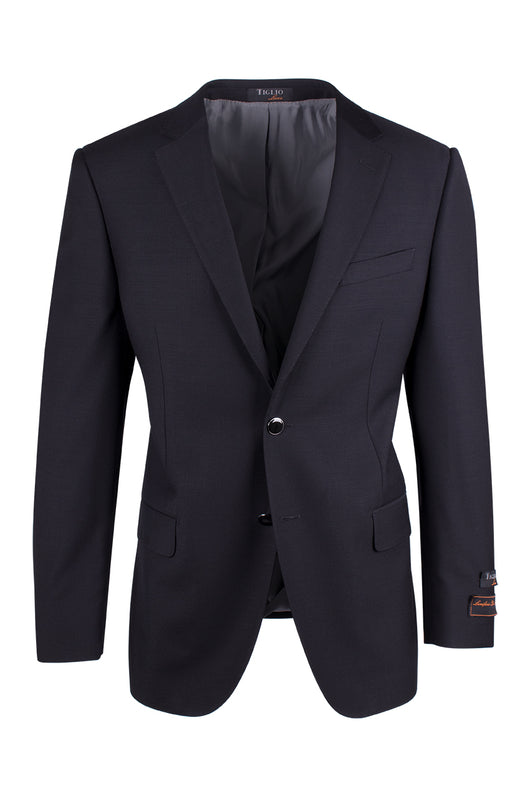 Novello Black Modern Fit Pure Wool Blazer by Tiglio Luxe TIG1001  Tiglio - Italian Suit Outlet