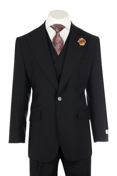NEW ROSSO BLACK Wide Leg Pure Wool Suit & Vest by Tiglio Rosso TIG1001  Tiglio - Italian Suit Outlet