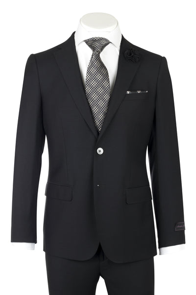 Porto Black, Slim Fit, Pure Wool Suit by Tiglio Luxe TIG1001  Tiglio - Italian Suit Outlet