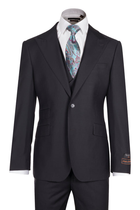 Tiglio Luxe Prosecco, Pure Black Modern Fit, TIG1001, Pure Wool Suit & Vest  Italian Suit Outlet - Italian Suit Outlet