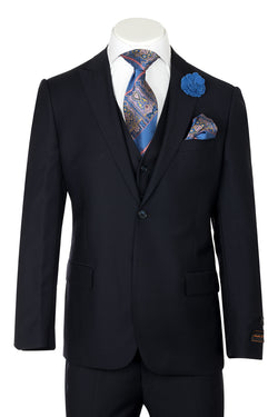 Tiglio Luxe Tufo, Modern Fit, Navy Blue, Pure Wool Suit & Vest TIG1002  Tiglio - Italian Suit Outlet
