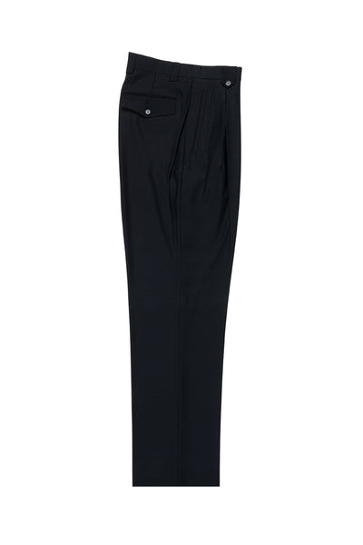 Navy Wide Leg, Pure Wool Dress Pants by Tiglio Luxe TIG1002  Tiglio - Italian Suit Outlet