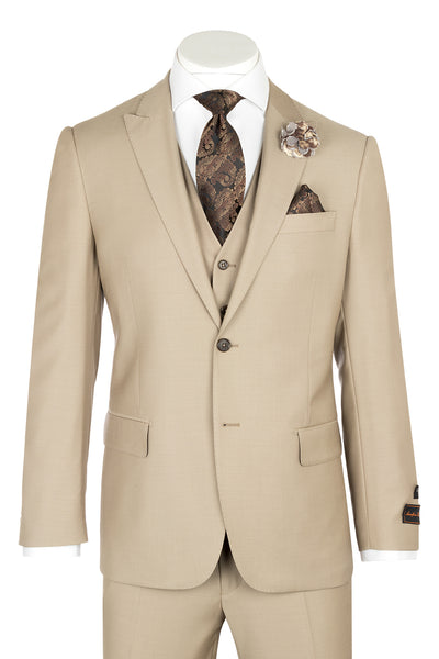 Tiglio Luxe Tufo, Modern Fit, Tan, Pure Wool Suit & Vest TIG1004  Tiglio - Italian Suit Outlet