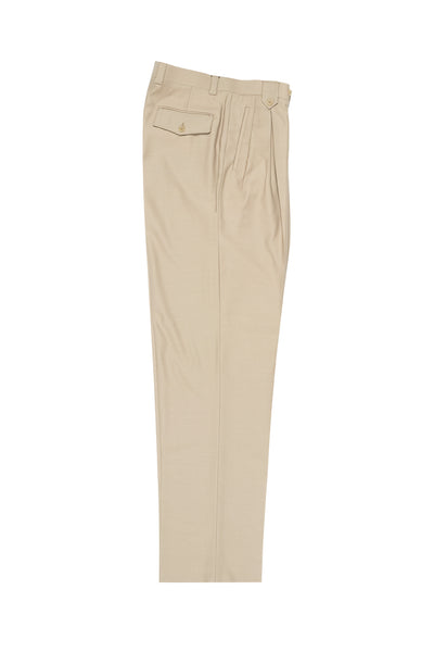 Tan Wide Leg, Pure Wool Dress Pants by Tiglio Luxe TIG1004  Tiglio - Italian Suit Outlet