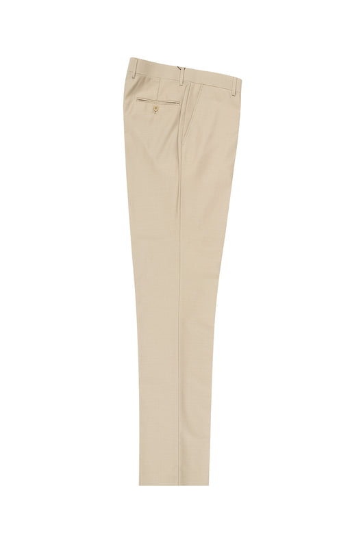Tan Flat Front Pure Wool, Dress Pants by Tiglio Luxe TIG1004