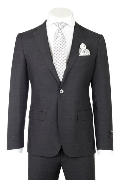 Porto Charcoal Gray, Slim Fit, Pure Wool Suit by Tiglio Luxe TIG1010  Tiglio - Italian Suit Outlet