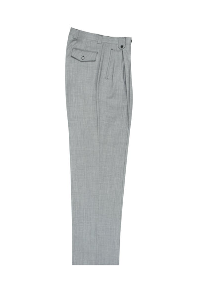 Light Gray Birdseye Wide Leg, Pure Wool Dress Pants by Tiglio Luxe TIG1018  Tiglio - Italian Suit Outlet