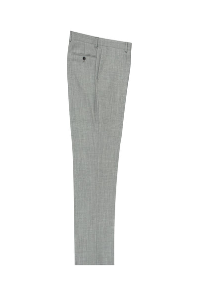 Light Gray Birdseye Flat Front, Pure Wool Dress Pants by Tiglio Luxe TIG1018  Tiglio - Italian Suit Outlet