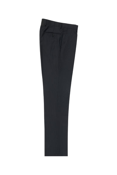 Black Mini Pin-Stripe Flat Front, Pure Wool Dress Pants by Tiglio Luxe TIG1046  Tiglio - Italian Suit Outlet