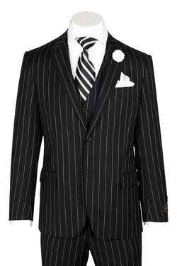 Tiglio Luxe Tufo, Modern Fit, Black Pin-Stripe, Pure Wool Suit & Vest TIG1052  Tiglio - Italian Suit Outlet