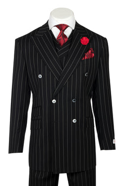 EST Black with White stripe suit, Wide Leg Pure Wool Suit & Vest by Tiglio Rosso TIG1052  Tiglio - Italian Suit Outlet