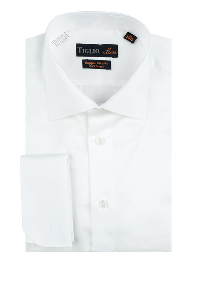 White Dress Shirt, French Cuff, by Tiglio  Tiglio Luxe - Italian Suit Outlet